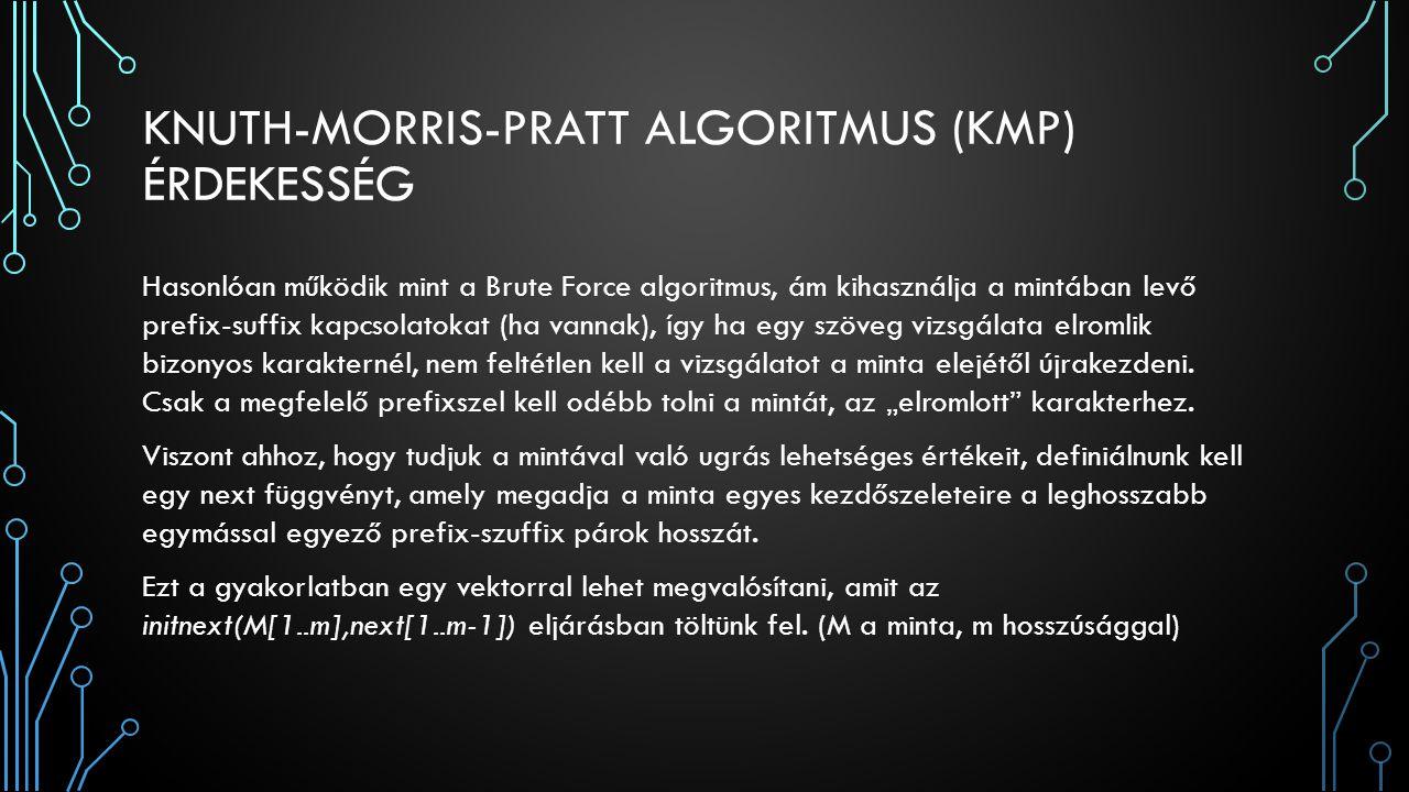 KNUTH-MORRIS-PRATT ALGORITMUS (KMP) ÉRDEKESSÉG Hasonlóan működik mint a Brute Force algoritmus, ám kihasználja a mintában levő prefix-suffix kapcsolatokat (ha vannak), így ha egy szöveg vizsgálata elromlik bizonyos karakternél, nem feltétlen kell a vizsgálatot a minta elejétől újrakezdeni.
