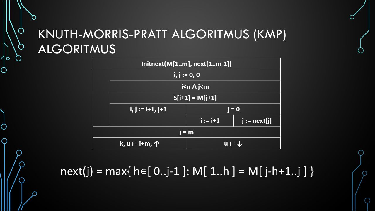 KNUTH-MORRIS-PRATT ALGORITMUS (KMP) ALGORITMUS Initnext(M[1..m], next[1..m-1]) i, j := 0, 0 i<n ⋀ j<m S[i+1] = M[j+1] i, j := i+1, j+1j = 0 i := i+1j