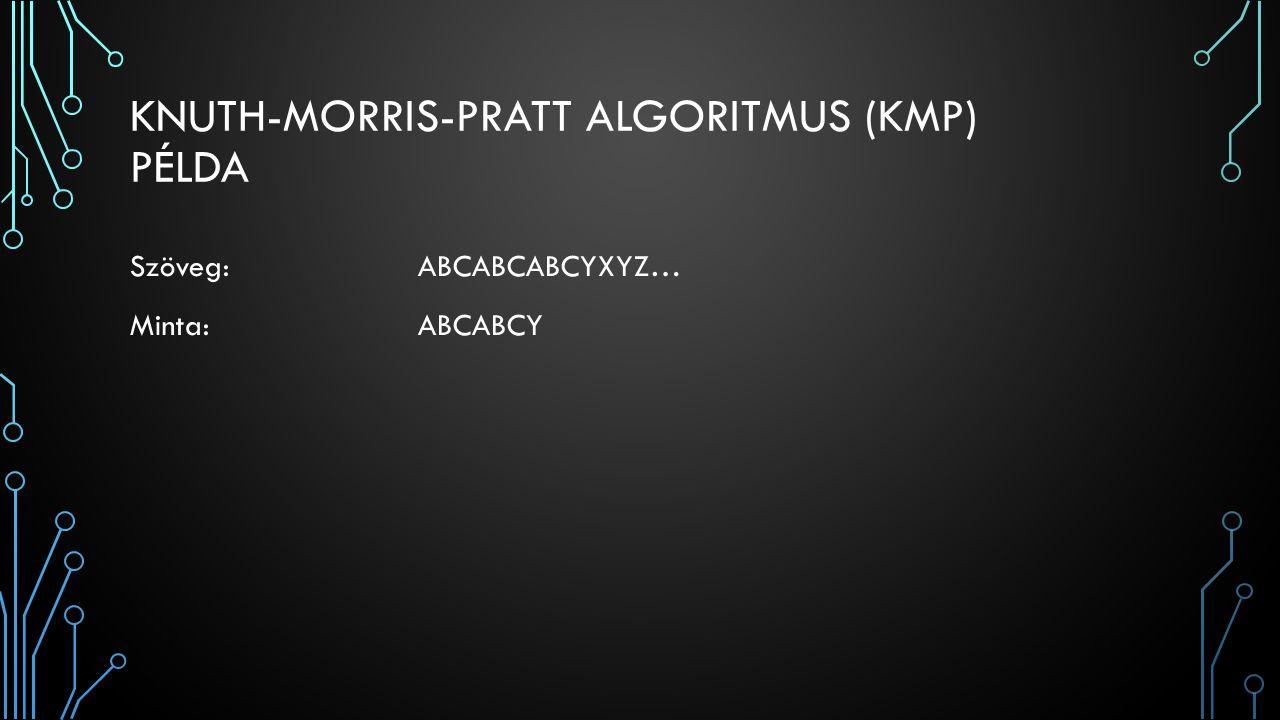 KNUTH-MORRIS-PRATT ALGORITMUS (KMP) ELTOLÁS PÉLDA 1.