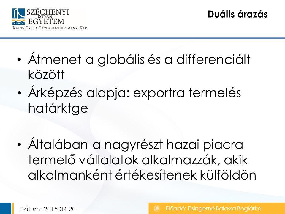 Átmenet a globális és a differenciált között Árképzés alapja: exportra termelés határktge Általában a nagyrészt hazai piacra termelő vállalatok alkalmazzák, akik alkalmanként értékesítenek külföldön Duális árazás Előadó: Eisingerné Balassa Boglárka Dátum: 2015.04.20.