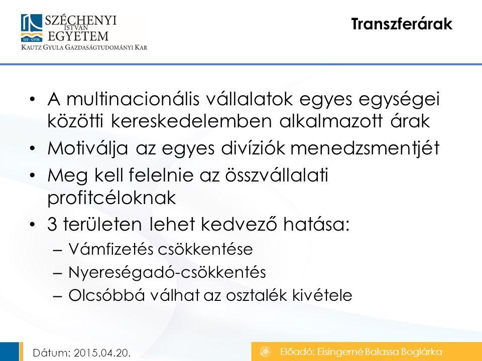 A multinacionális vállalatok egyes egységei közötti kereskedelemben alkalmazott árak Motiválja az egyes divíziók menedzsmentjét Meg kell felelnie az összvállalati profitcéloknak 3 területen lehet kedvező hatása: – Vámfizetés csökkentése – Nyereségadó-csökkentés – Olcsóbbá válhat az osztalék kivétele Transzferárak Előadó: Eisingerné Balassa Boglárka Dátum: 2015.04.20.
