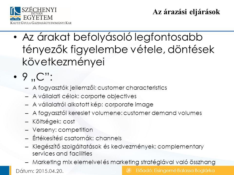 """Az árakat befolyásoló legfontosabb tényezők figyelembe vétele, döntések következményei 9 """"C : – A fogyasztók jellemzői: customer characteristics – A vállalati célok: corporte objectives – A vállalatról alkotott kép: corporate image – A fogyasztói kereslet volumene: customer demand volumes – Költségek: cost – Verseny: competition – Értékesítési csatornák: channels – Kiegészítő szolgáltatások és kedvezmények: complementary services and facilities – Marketing mix elemeivel és marketing stratégiával való összhang Az árazási eljárások Előadó: Eisingerné Balassa Boglárka Dátum: 2015.04.20."""