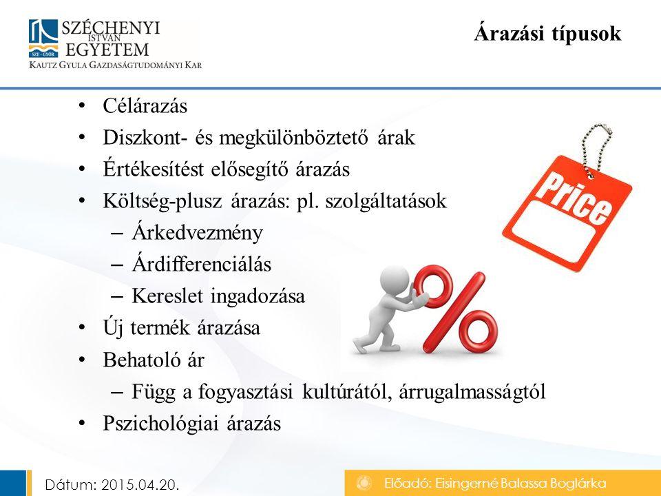 Célárazás Diszkont- és megkülönböztető árak Értékesítést elősegítő árazás Költség-plusz árazás: pl.