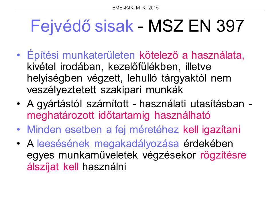 Fejvédő sisak - MSZ EN 397 Építési munkaterületen kötelező a használata, kivétel irodában, kezelőfülékben, illetve helyiségben végzett, lehulló tárgya