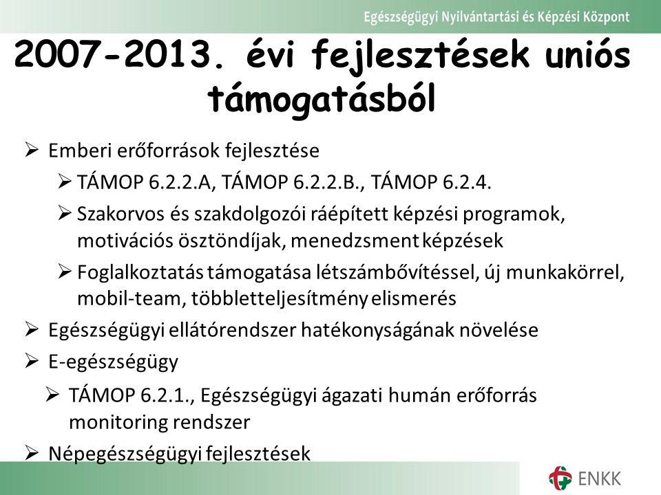 2007-2013. évi fejlesztések uniós támogatásból  Emberi erőforrások fejlesztése  TÁMOP 6.2.2.A, TÁMOP 6.2.2.B., TÁMOP 6.2.4.  Szakorvos és szakdolgo