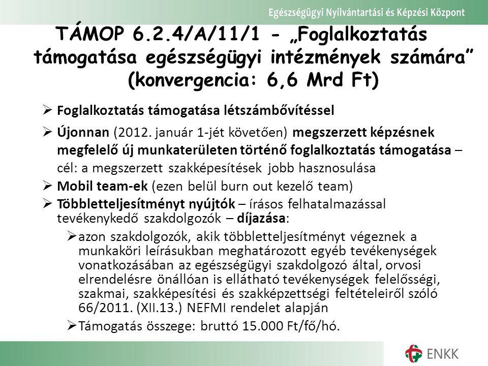 """TÁMOP 6.2.4/A/11/1 - """"Foglalkoztatás támogatása egészségügyi intézmények számára"""" (konvergencia: 6,6 Mrd Ft)  Foglalkoztatás támogatása létszámbővíté"""