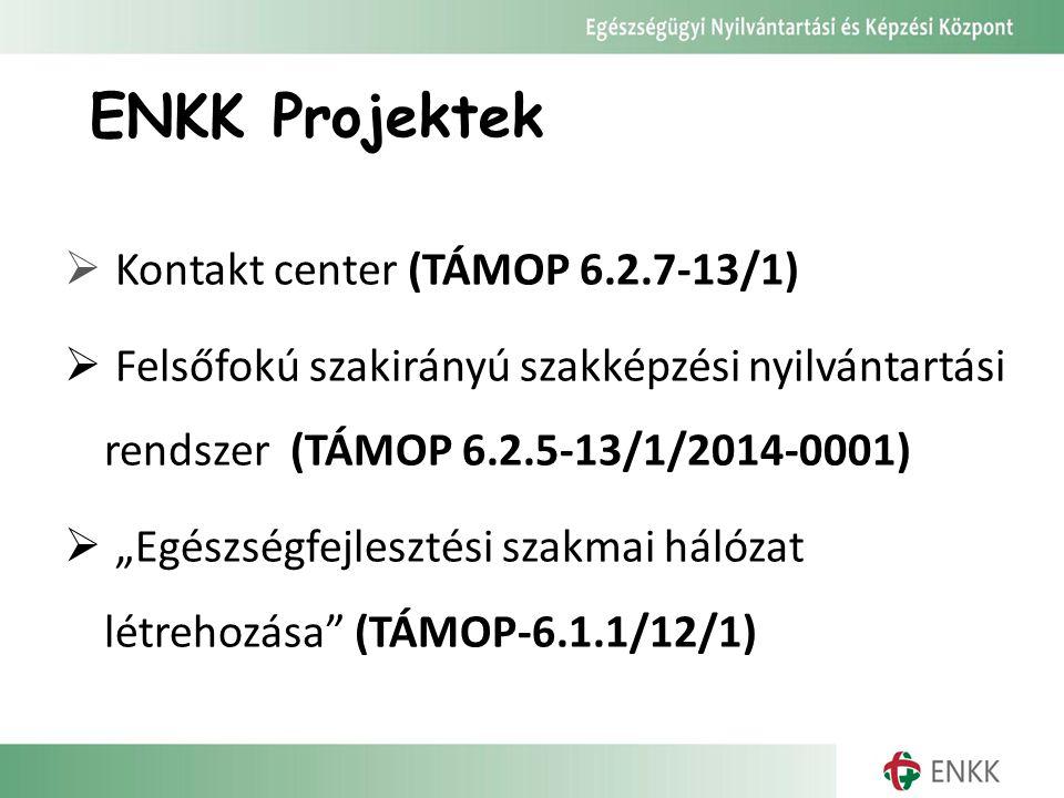 """ENKK Projektek  Kontakt center (TÁMOP 6.2.7-13/1)  Felsőfokú szakirányú szakképzési nyilvántartási rendszer (TÁMOP 6.2.5-13/1/2014-0001)  """"Egészségfejlesztési szakmai hálózat létrehozása (TÁMOP-6.1.1/12/1)"""