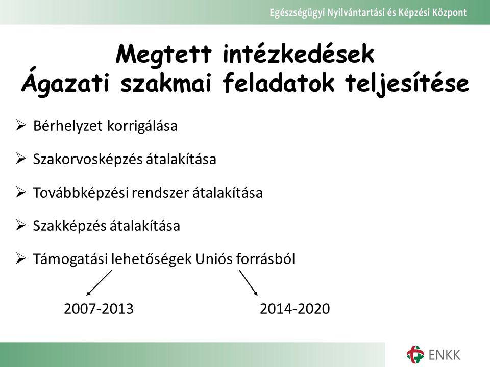 Megtett intézkedések Ágazati szakmai feladatok teljesítése  Bérhelyzet korrigálása  Szakorvosképzés átalakítása  Továbbképzési rendszer átalakítása  Szakképzés átalakítása  Támogatási lehetőségek Uniós forrásból 2007-20132014-2020