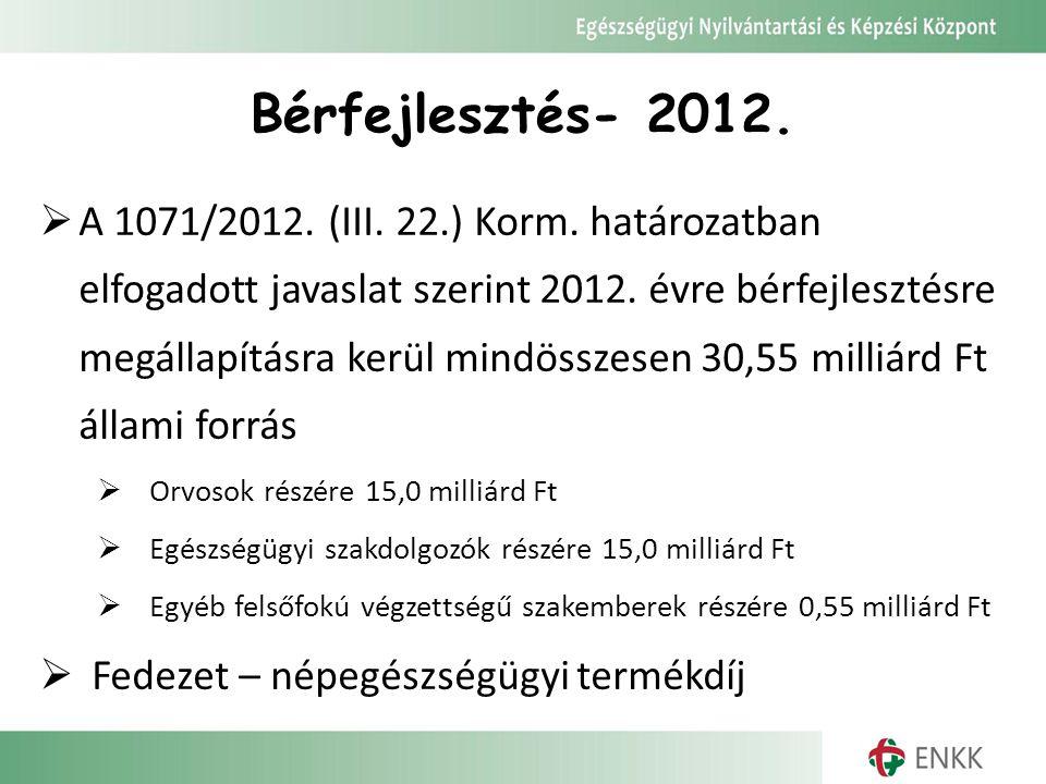 Bérfejlesztés- 2012.  A 1071/2012. (III. 22.) Korm. határozatban elfogadott javaslat szerint 2012. évre bérfejlesztésre megállapításra kerül mindössz