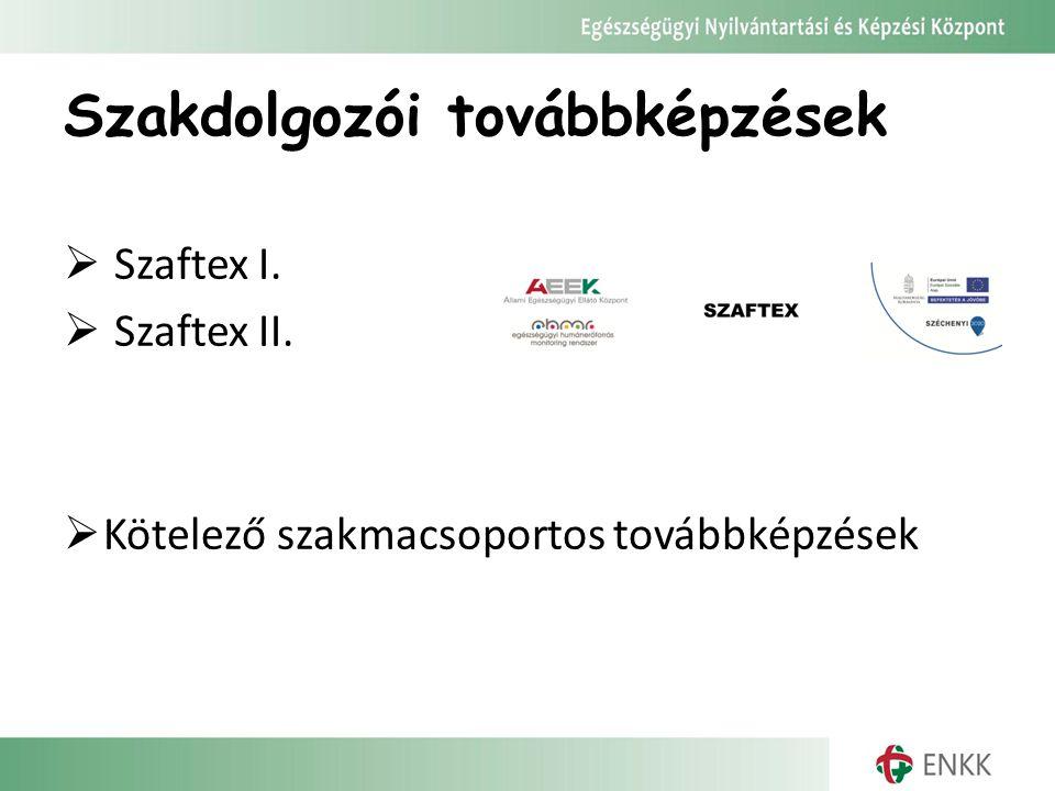 Szakdolgozói továbbképzések  Szaftex I.  Szaftex II.  Kötelező szakmacsoportos továbbképzések