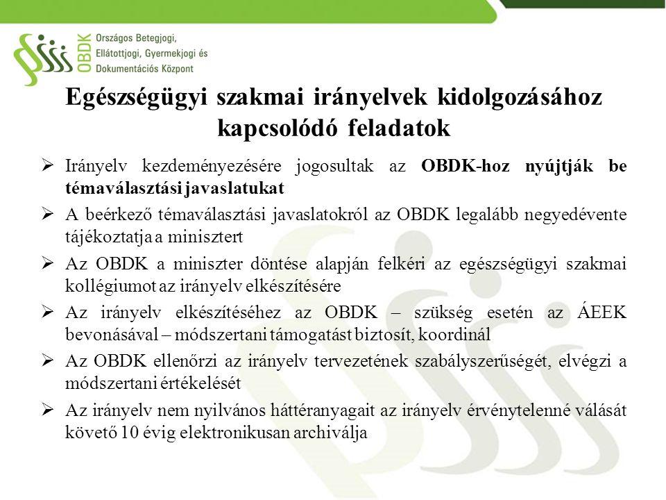 Egészségügyi szakmai irányelvek kidolgozásához kapcsolódó feladatok  Irányelv kezdeményezésére jogosultak az OBDK-hoz nyújtják be témaválasztási java