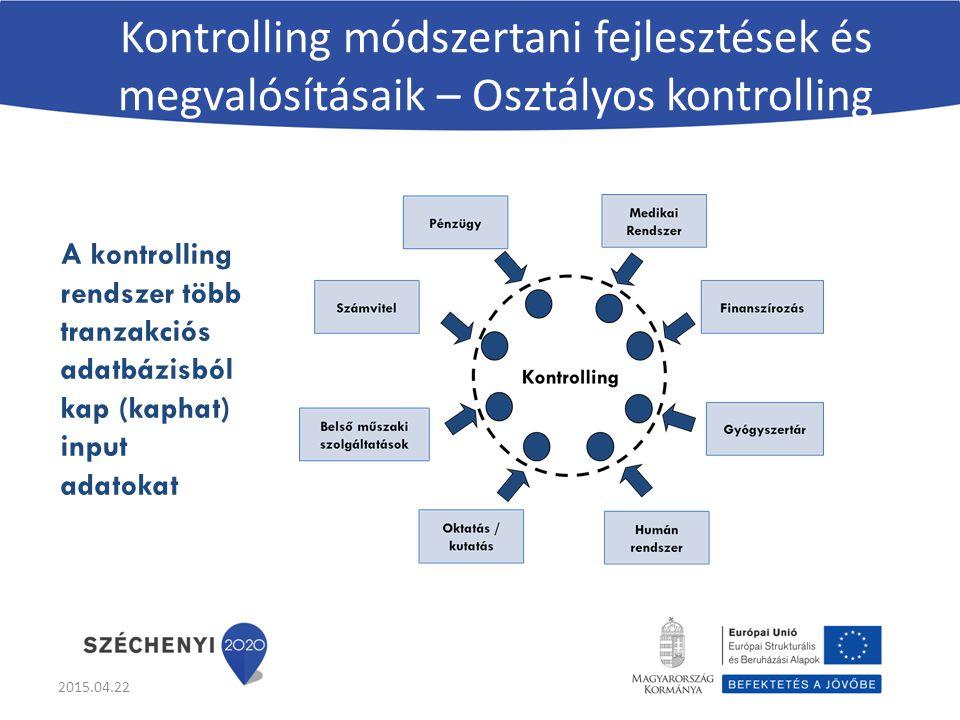 Kontrolling módszertani fejlesztések és megvalósításaik – Osztályos kontrolling A kontrolling rendszer több tranzakciós adatbázisból kap (kaphat) input adatokat 2015.04.22