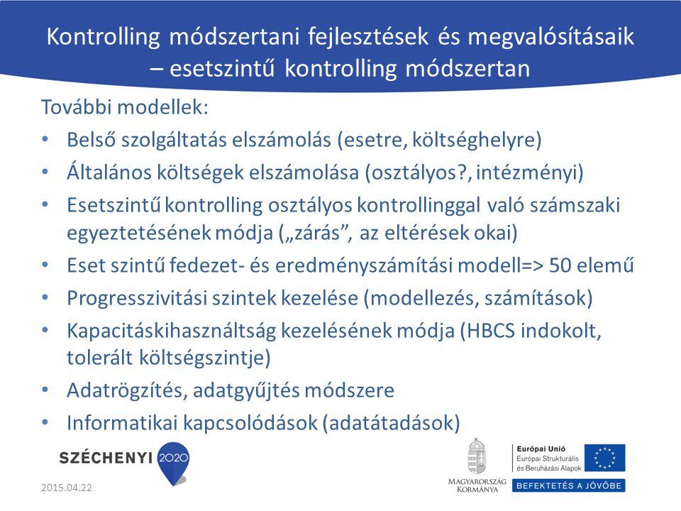 Kontrolling módszertani fejlesztések és megvalósításaik – esetszintű kontrolling módszertan További modellek: Belső szolgáltatás elszámolás (esetre, k