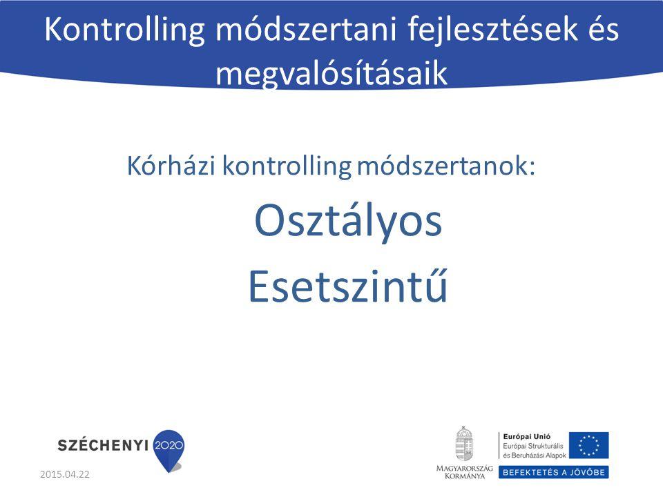 Kontrolling módszertani fejlesztések és megvalósításaik Kórházi kontrolling módszertanok: Osztályos Esetszintű 2015.04.22