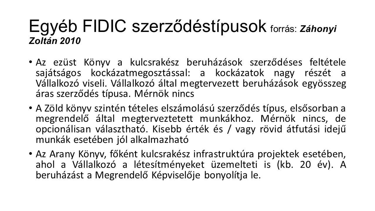 Egyéb FIDIC szerződéstípusok forrás: Záhonyi Zoltán 2010 Az ezüst Könyv a kulcsrakész beruházások szerződéses feltétele sajátságos kockázatmegosztássa