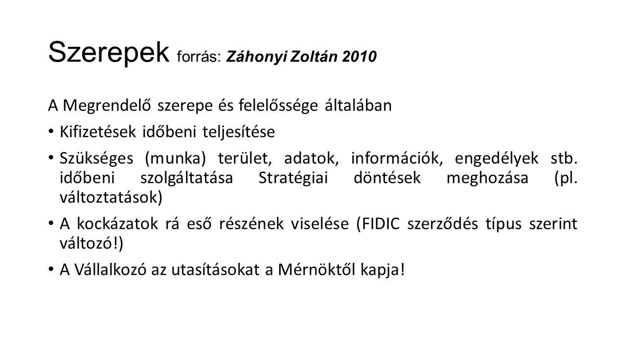 Szerepek forrás: Záhonyi Zoltán 2010 A Megrendelő szerepe és felelőssége általában Kifizetések időbeni teljesítése Szükséges (munka) terület, adatok,