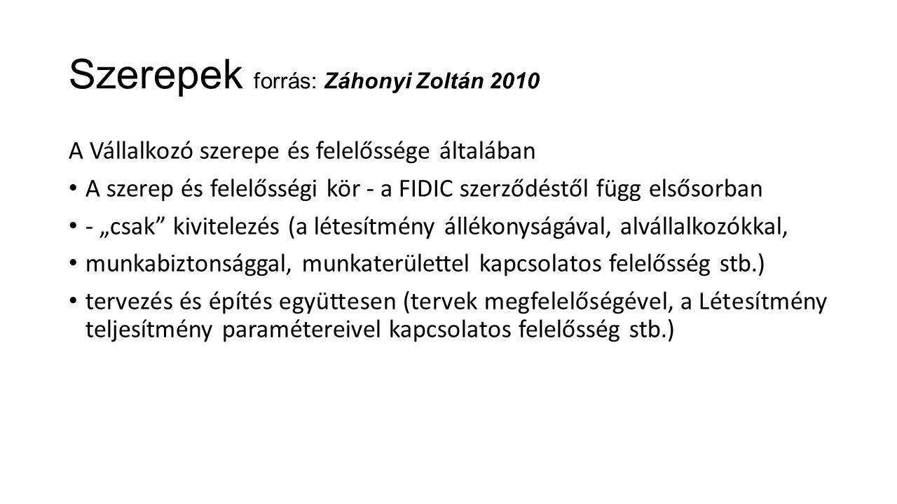 Szerepek forrás: Záhonyi Zoltán 2010 A Vállalkozó szerepe és felelőssége általában A szerep és felelősségi kör - a FIDIC szerződéstől függ elsősorban
