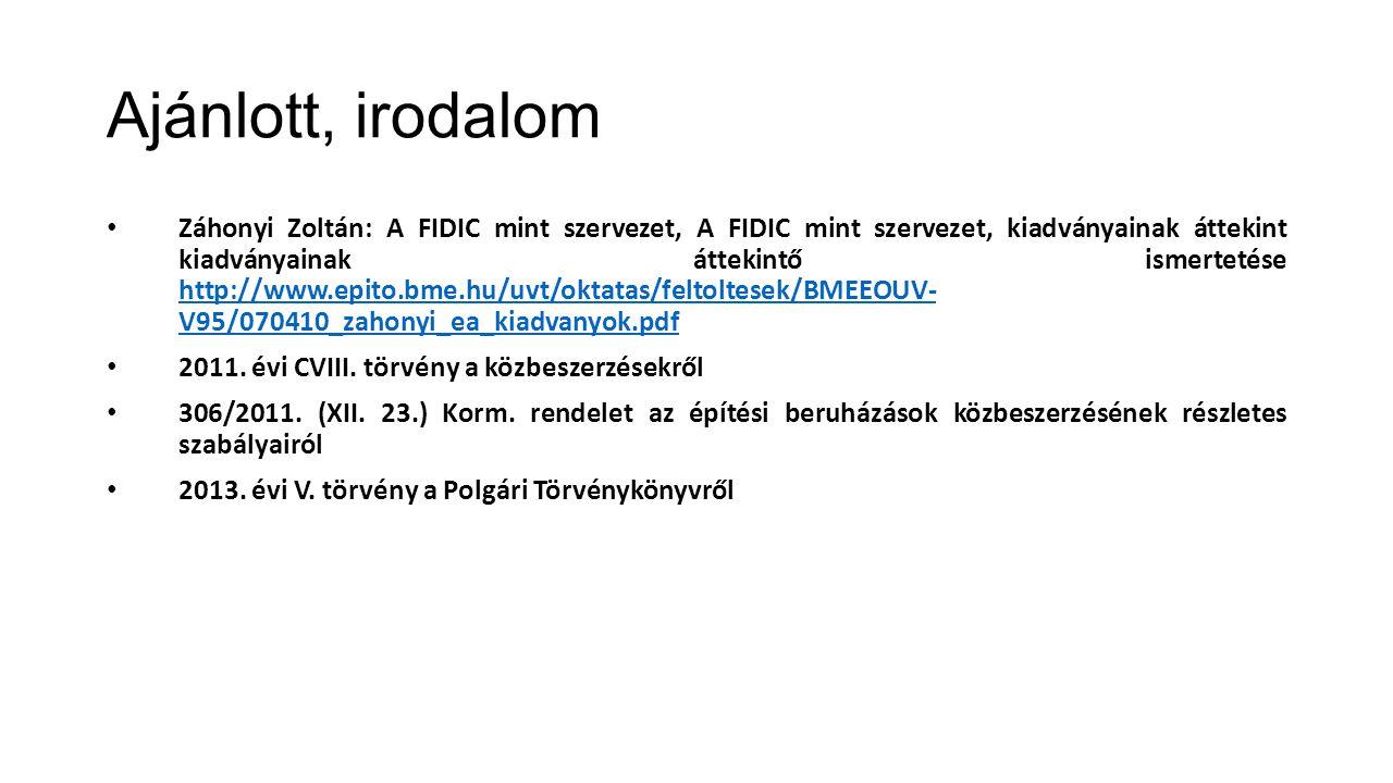 Ajánlott, irodalom Záhonyi Zoltán: A FIDIC mint szervezet, A FIDIC mint szervezet, kiadványainak áttekint kiadványainak áttekintő ismertetése http://w