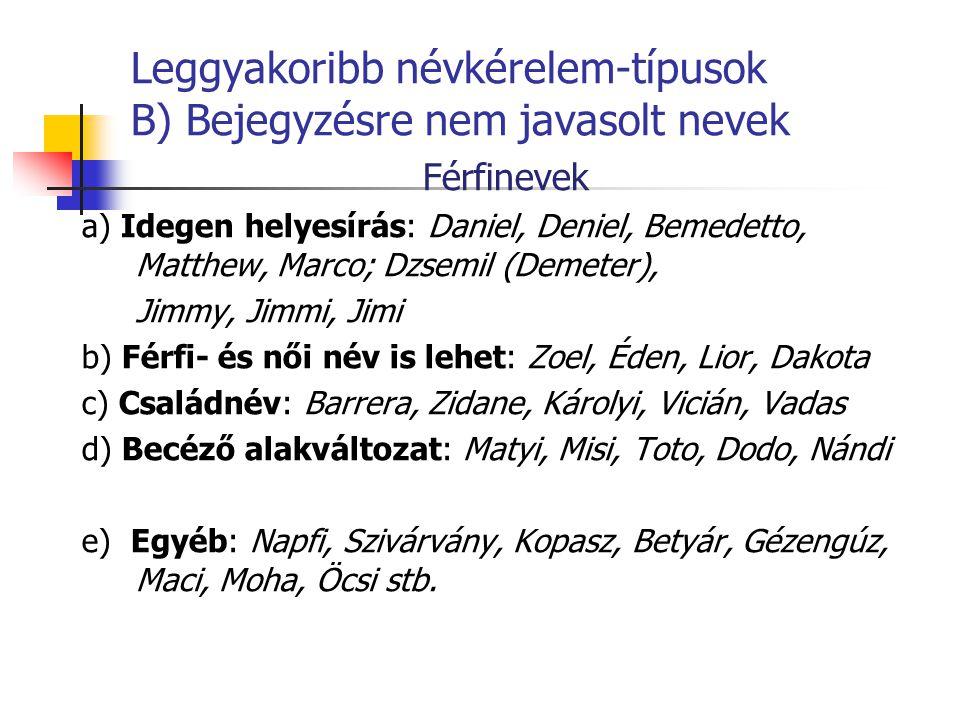 Leggyakoribb névkérelem-típusok B) Bejegyzésre nem javasolt nevek Férfinevek a) Idegen helyesírás: Daniel, Deniel, Bemedetto, Matthew, Marco; Dzsemil (Demeter), Jimmy, Jimmi, Jimi b) Férfi- és női név is lehet: Zoel, Éden, Lior, Dakota c) Családnév: Barrera, Zidane, Károlyi, Vicián, Vadas d) Becéző alakváltozat: Matyi, Misi, Toto, Dodo, Nándi e) Egyéb: Napfi, Szivárvány, Kopasz, Betyár, Gézengúz, Maci, Moha, Öcsi stb.