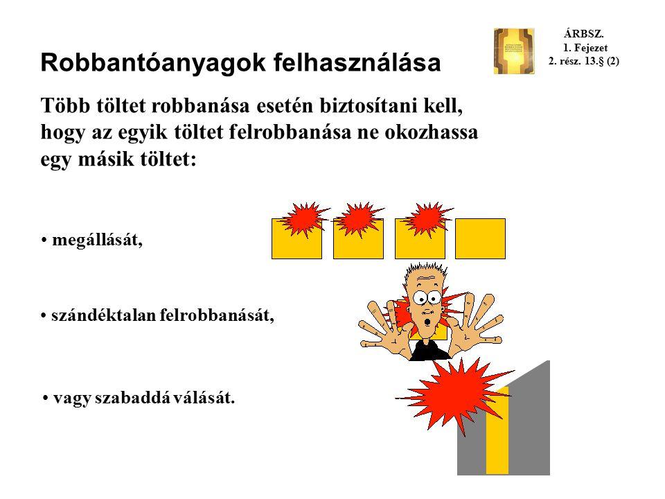 Robbantóanyagok felhasználása Tilos robbantani: olyan anyagban, illetve anyagot, amely a robbantás hatására szándéktalanul meggyulladhat vagy felrobba