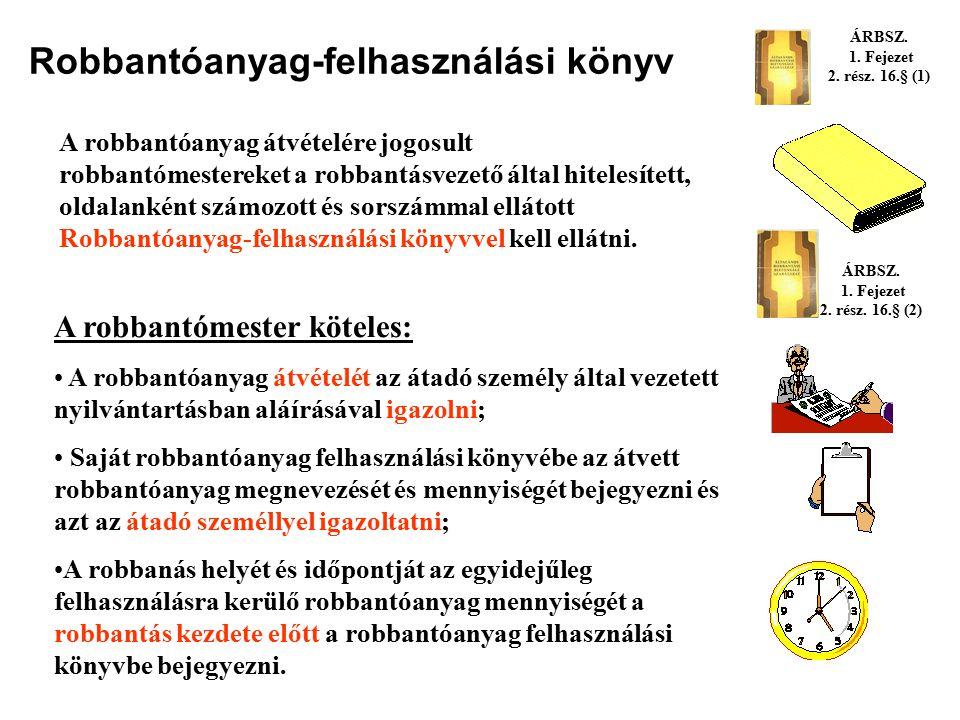 Robbantóanyag átvétele felhasználásra Robbantóanyagot csak robbantómesternek szabad kiadni vagy átadni. Az átvételre jogosult robbantómestereket a rob