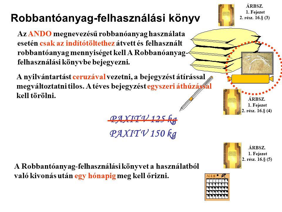 Robbantóanyag-felhasználási könyv A robbantóanyag átvételére jogosult robbantómestereket a robbantásvezető által hitelesített, oldalanként számozott é