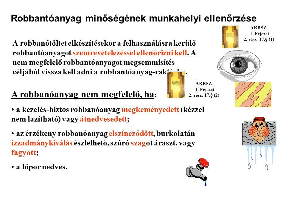 Robbantóanyag-felhasználási könyv Az ANDO megnevezésű robbanóanyag használata esetén csak az indítótöltethez átvett és felhasznált robbantóanyag menny