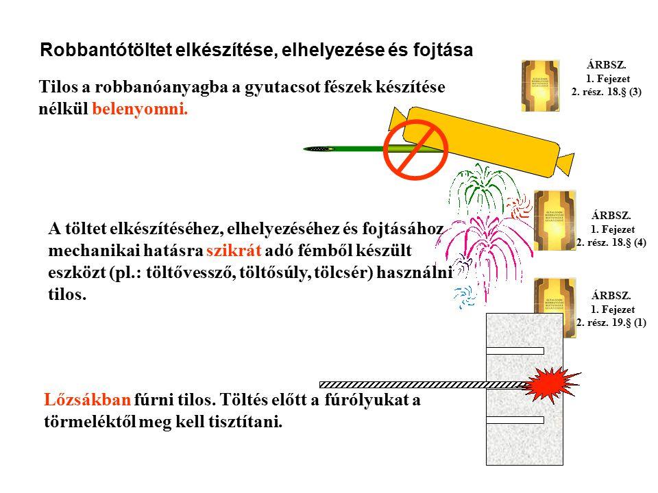 ÁRBSZ. 1. Fejezet 2. rész. 18.§ (3) ÁRBSZ. 1. Fejezet 2. rész. 18.§ (2) Robbantótöltet elkészítése, elhelyezése és fojtása A robbanóanyag indításához