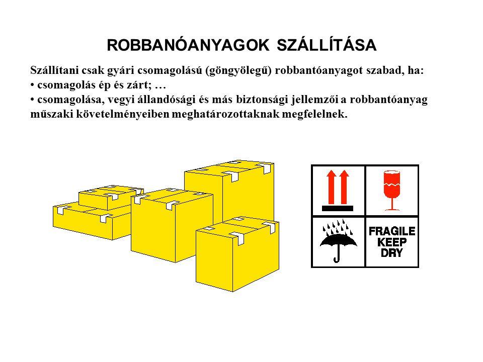 ÁRBSZ. 1. Fejezet 4. rész. 40.§ ROBBANTÓANYAGOK SZÁLLÍTÁSA Robbanóanyag közforgalmú vasúti-, közúti- és hajón való szállítása esetén a veszélyes áruk