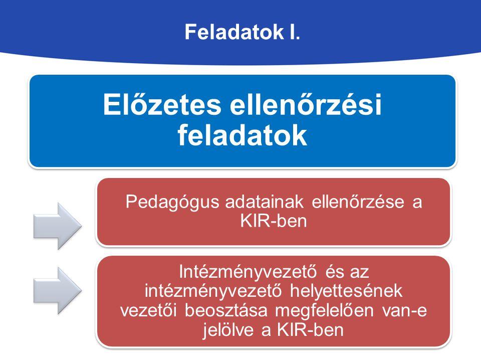 Feladatok I. Előzetes ellenőrzési feladatok Pedagógus adatainak ellenőrzése a KIR-ben Intézményvezető és az intézményvezető helyettesének vezetői beos
