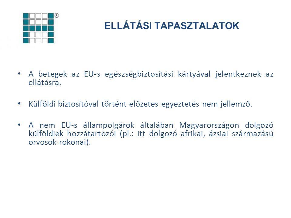 ELLÁTÁSI TAPASZTALATOK A betegek az EU-s egészségbiztosítási kártyával jelentkeznek az ellátásra. Külföldi biztosítóval történt előzetes egyeztetés ne