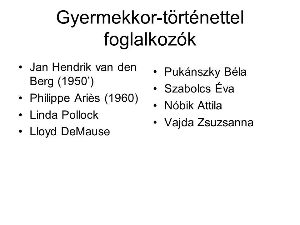 Gyermekkor-történettel foglalkozók Jan Hendrik van den Berg (1950') Philippe Ariès (1960) Linda Pollock Lloyd DeMause Pukánszky Béla Szabolcs Éva Nóbik Attila Vajda Zsuzsanna