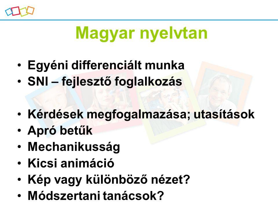Magyar nyelvtan Egyéni differenciált munka SNI – fejlesztő foglalkozás Kérdések megfogalmazása; utasítások Apró betűk Mechanikusság Kicsi animáció Kép