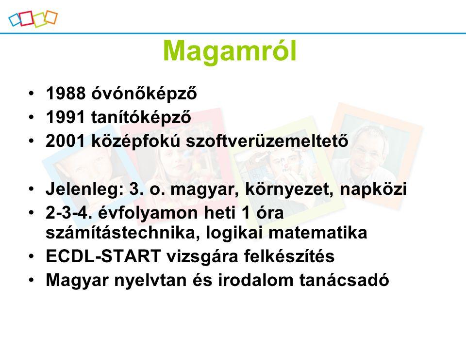 Magamról 1988 óvónőképző 1991 tanítóképző 2001 középfokú szoftverüzemeltető Jelenleg: 3. o. magyar, környezet, napközi 2-3-4. évfolyamon heti 1 óra sz