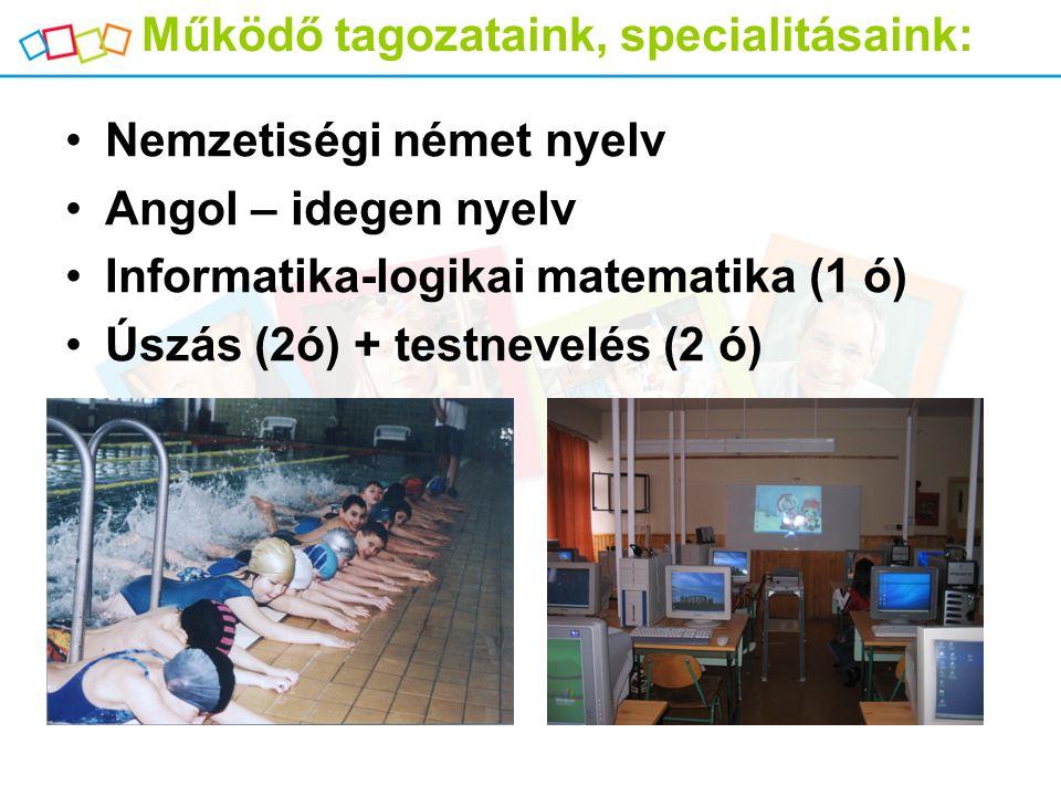 Működő tagozataink, specialitásaink: Nemzetiségi német nyelv Angol – idegen nyelv Informatika-logikai matematika (1 ó) Úszás (2ó) + testnevelés (2 ó)