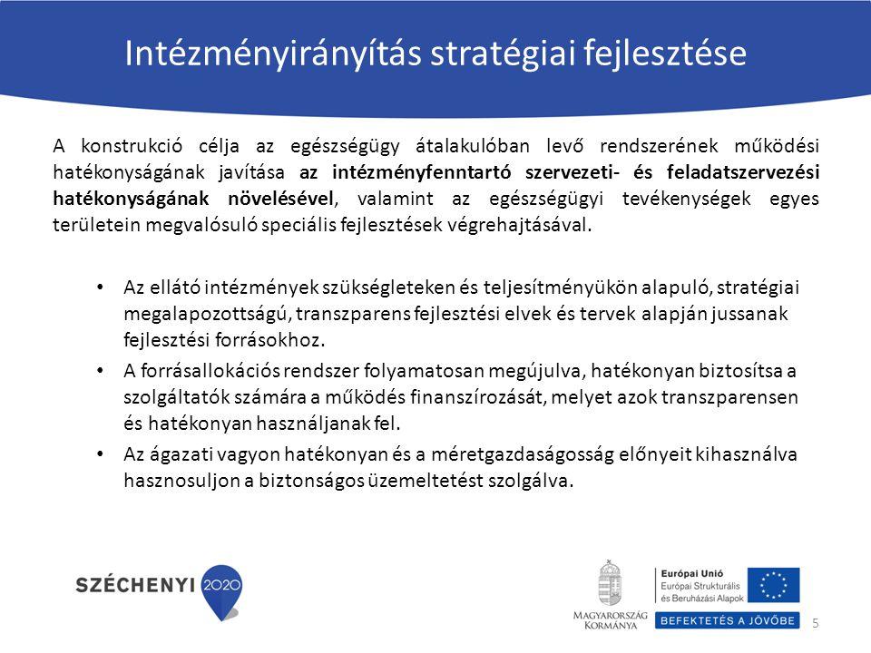 Intézményirányítás stratégiai fejlesztése A konstrukció célja az egészségügy átalakulóban levő rendszerének működési hatékonyságának javítása az intéz
