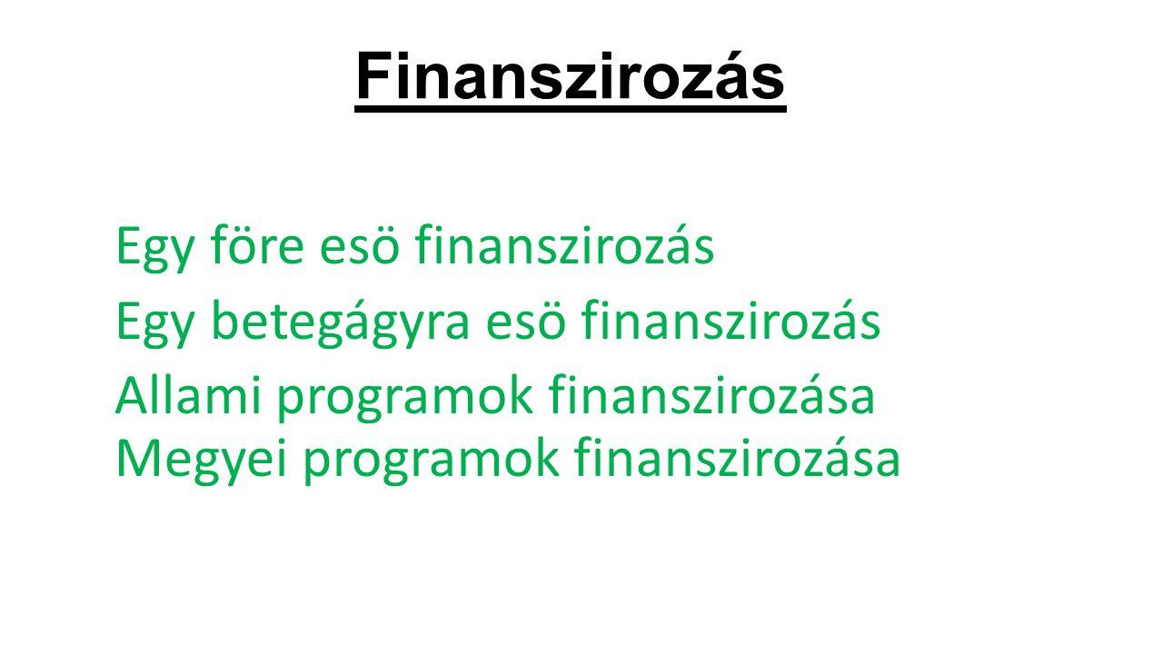 Finanszirozás Egy före esö finanszirozás Egy betegágyra esö finanszirozás Allami programok finanszirozása Megyei programok finanszirozása