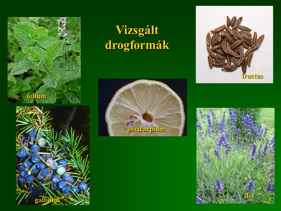 folium fructus pericarpium Vizsgált drogformák flos galbulus