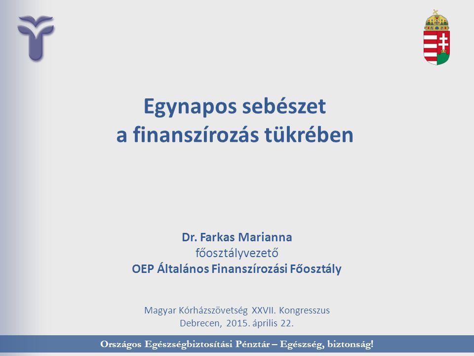 Dr. Farkas Marianna főosztályvezető OEP Általános Finanszírozási Főosztály Magyar Kórházszövetség XXVII. Kongresszus Debrecen, 2015. április 22. Egyna
