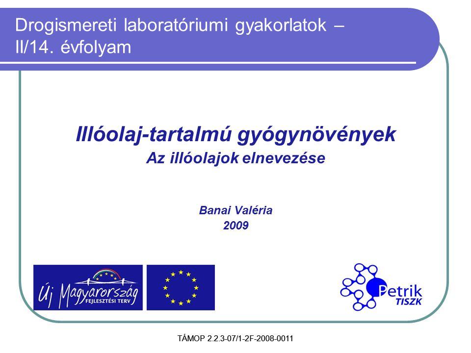 TÁMOP 2.2.3-07/1-2F-2008-0011 Drogismereti laboratóriumi gyakorlatok – II/14. évfolyam Illóolaj-tartalmú gyógynövények Az illóolajok elnevezése Banai