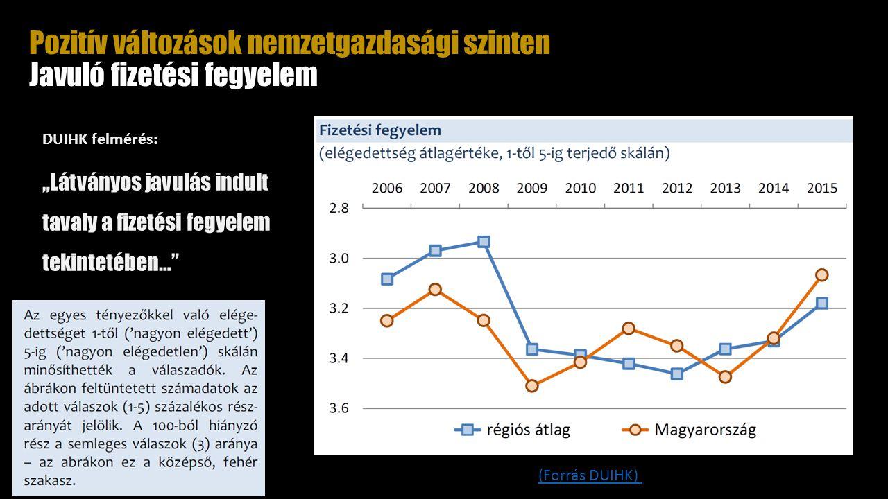 """Pozitív változások nemzetgazdasági szinten Javuló fizetési fegyelem DUIHK felmérés: """"Látványos javulás indult tavaly a fizetési fegyelem tekintetében… (Forrás DUIHK)"""