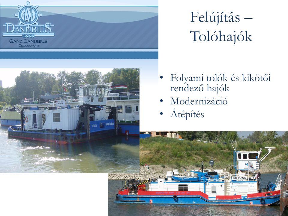 Felújítás – Tolóhajók Folyami tolók és kikötői rendező hajók Modernizáció Átépítés