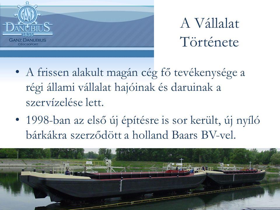 A Vállalat Története A frissen alakult magán cég fő tevékenysége a régi állami vállalat hajóinak és daruinak a szervízelése lett. 1998-ban az első új