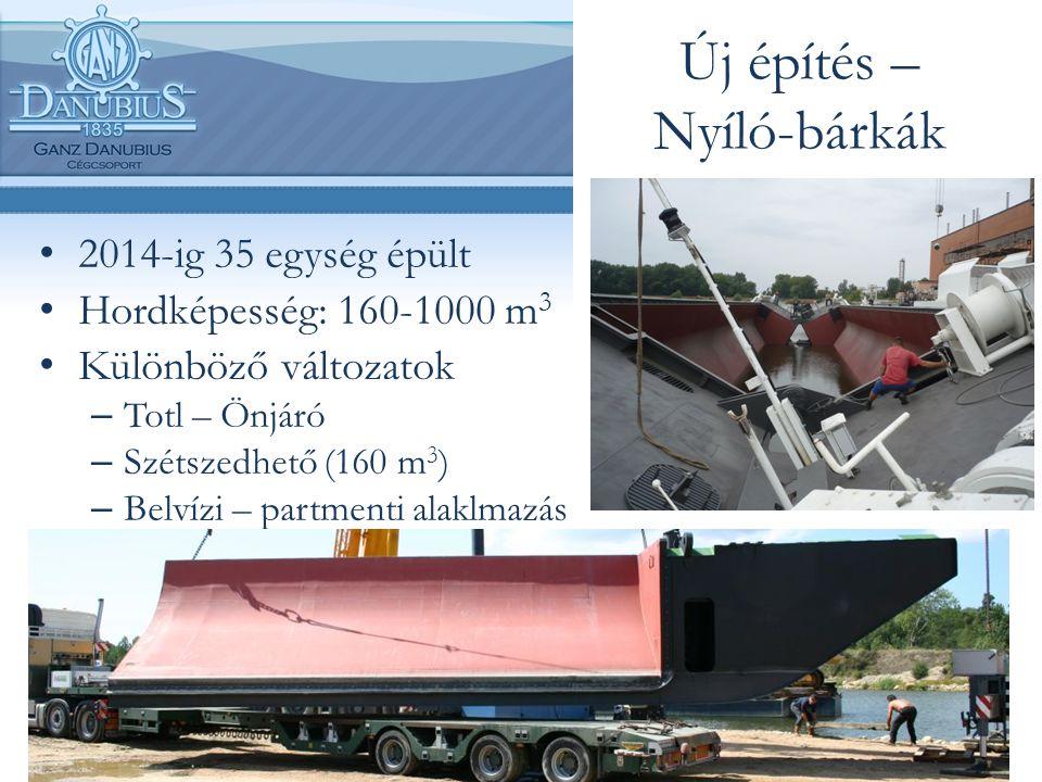 Új építés – Nyíló-bárkák 2014-ig 35 egység épült Hordképesség: 160-1000 m 3 Különböző változatok – Totl – Önjáró – Szétszedhető (160 m 3 ) – Belvízi –