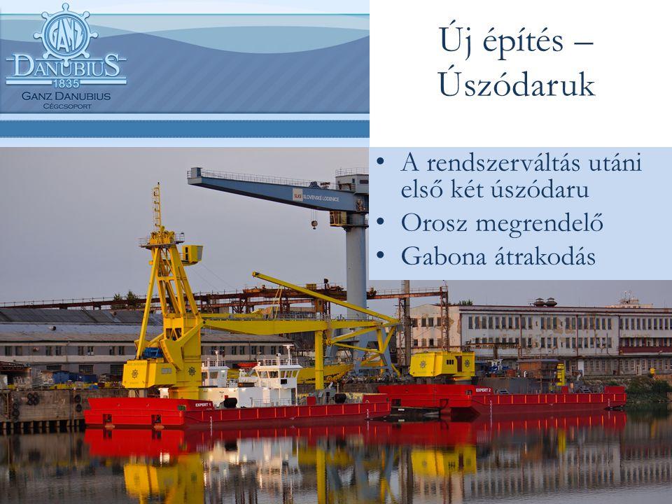 Új építés – Úszódaruk A rendszerváltás utáni első két úszódaru Orosz megrendelő Gabona átrakodás