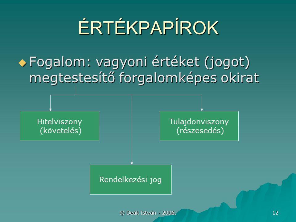 © Deák István - 2006. 12 ÉRTÉKPAPÍROK  Fogalom: vagyoni értéket (jogot) megtestesítő forgalomképes okirat Hitelviszony (követelés) Tulajdonviszony (r