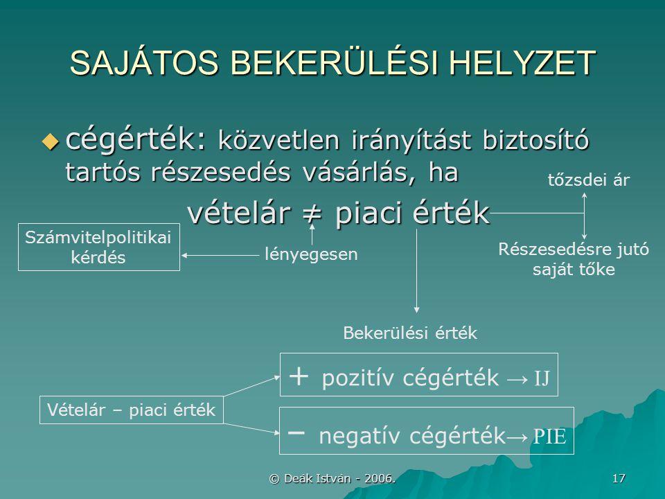 © Deák István - 2006. 17 SAJÁTOS BEKERÜLÉSI HELYZET  cégérték: közvetlen irányítást biztosító tartós részesedés vásárlás, ha vételár ≠ piaci érték vé