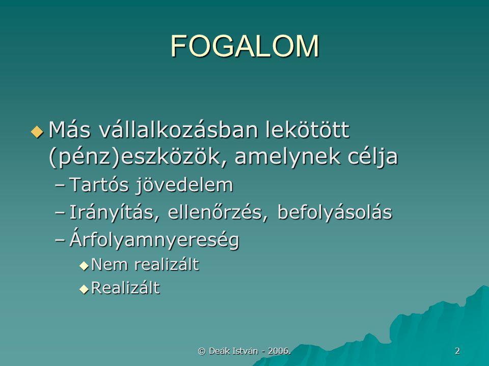 © Deák István - 2006.23 ÉV – VÍ KÖNYVELÉSE PÉNZÜGYI RÁF.