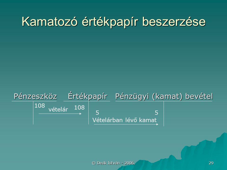 © Deák István - 2006. 29 Kamatozó értékpapír beszerzése Pénzeszköz Értékpapír Pénzügyi (kamat) bevétel vételár Vételárban lévő kamat 108 55
