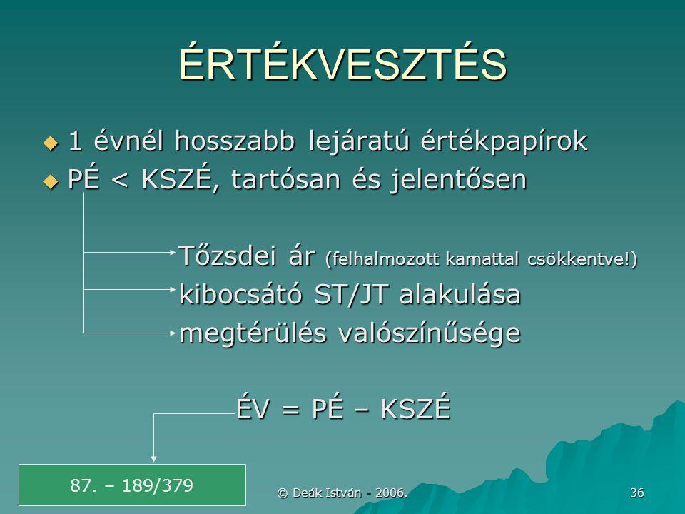© Deák István - 2006. 36 ÉRTÉKVESZTÉS  1 évnél hosszabb lejáratú értékpapírok  PÉ < KSZÉ, tartósan és jelentősen Tőzsdei ár (felhalmozott kamattal c
